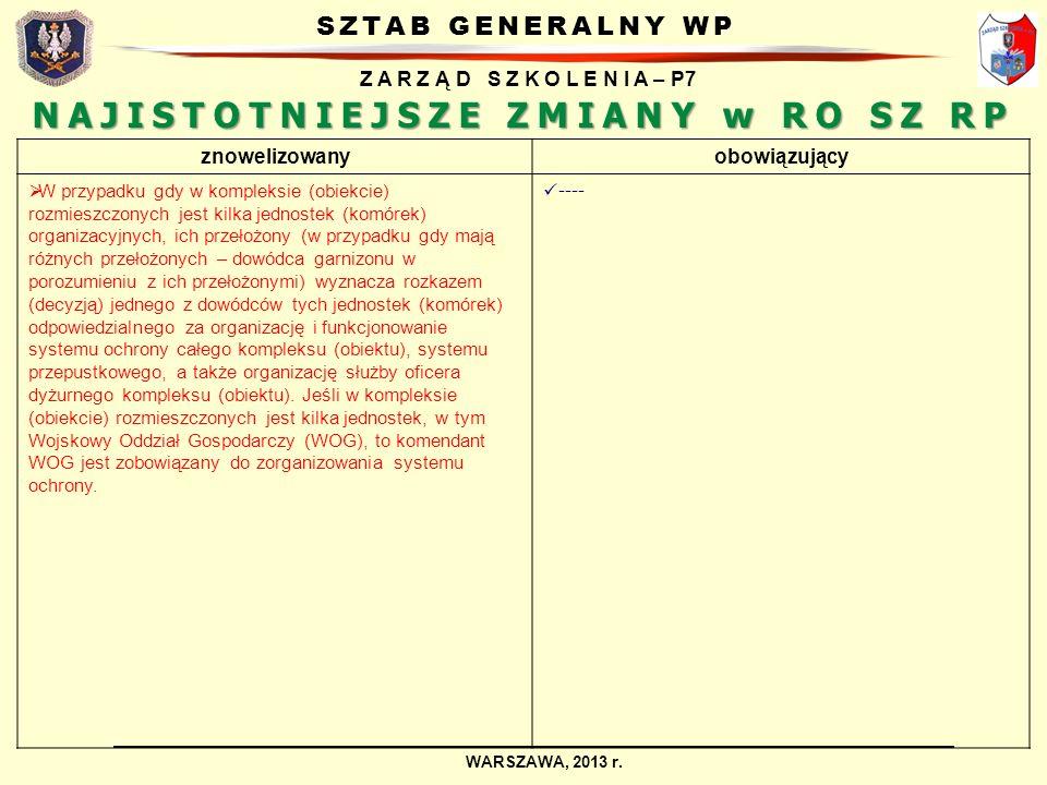 SZTAB GENERALNY WP Z A R Z Ą D S Z K O L E N I A – P7 WARSZAWA, 2013 r. NAJISTOTNIEJSZE ZMIANY w RO SZ RP znowelizowanyobowiązujący W przypadku gdy w