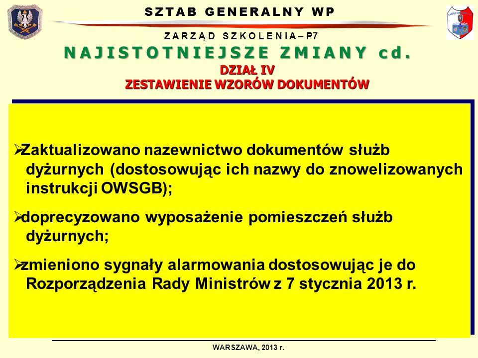 SZTAB GENERALNY WP Z A R Z Ą D S Z K O L E N I A – P7 WARSZAWA, 2013 r. DZIAŁ IV ZESTAWIENIE WZORÓW DOKUMENTÓW Zaktualizowano nazewnictwo dokumentów s