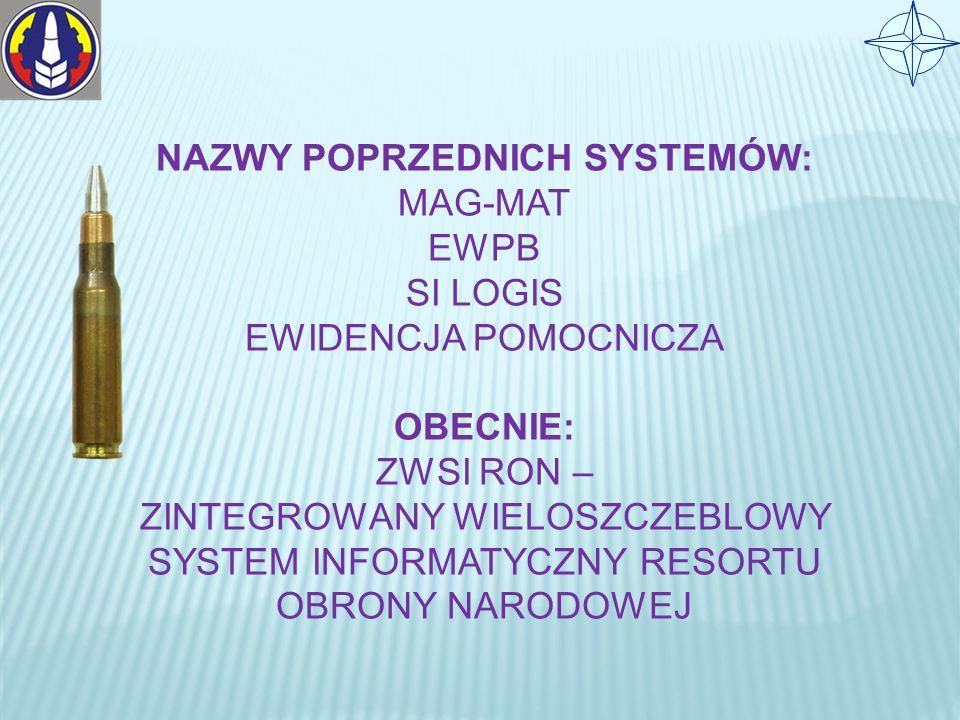 NAZWY POPRZEDNICH SYSTEMÓW: MAG-MAT EWPB SI LOGIS EWIDENCJA POMOCNICZA OBECNIE: ZWSI RON – ZINTEGROWANY WIELOSZCZEBLOWY SYSTEM INFORMATYCZNY RESORTU OBRONY NARODOWEJ
