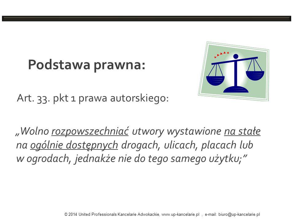 Podstawa prawna: Art. 33. pkt 1 prawa autorskiego: Wolno rozpowszechniać utwory wystawione na stałe na ogólnie dostępnych drogach, ulicach, placach lu