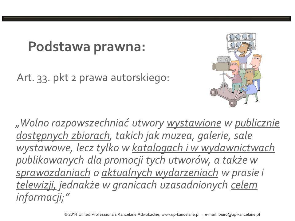 Podstawa prawna: Art. 33. pkt 2 prawa autorskiego: Wolno rozpowszechniać utwory wystawione w publicznie dostępnych zbiorach, takich jak muzea, galerie
