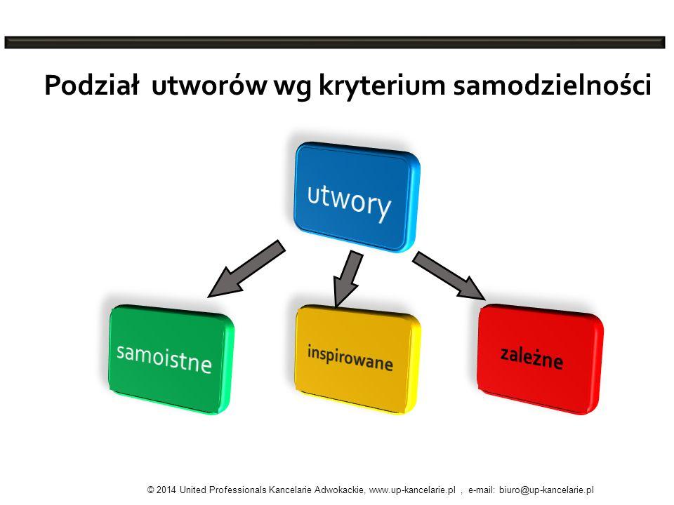 Podział utworów wg kryterium samodzielności © 2014 United Professionals Kancelarie Adwokackie, www.up-kancelarie.pl, e-mail: biuro@up-kancelarie.pl