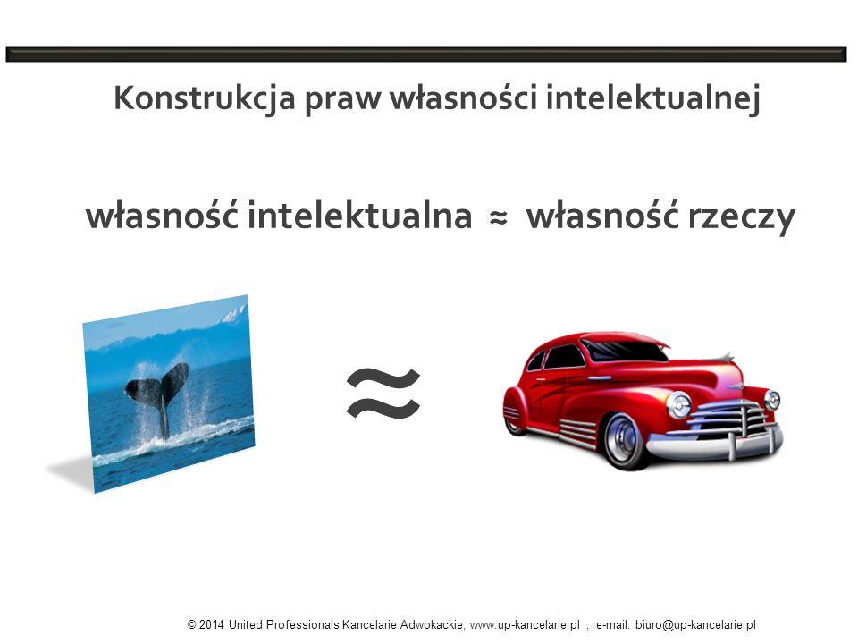 Konstrukcja praw własności intelektualnej © 2014 United Professionals Kancelarie Adwokackie, www.up-kancelarie.pl, e-mail: biuro@up-kancelarie.pl włas
