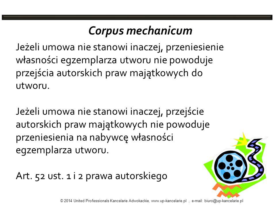 Corpus mechanicum Jeżeli umowa nie stanowi inaczej, przeniesienie własności egzemplarza utworu nie powoduje przejścia autorskich praw majątkowych do u
