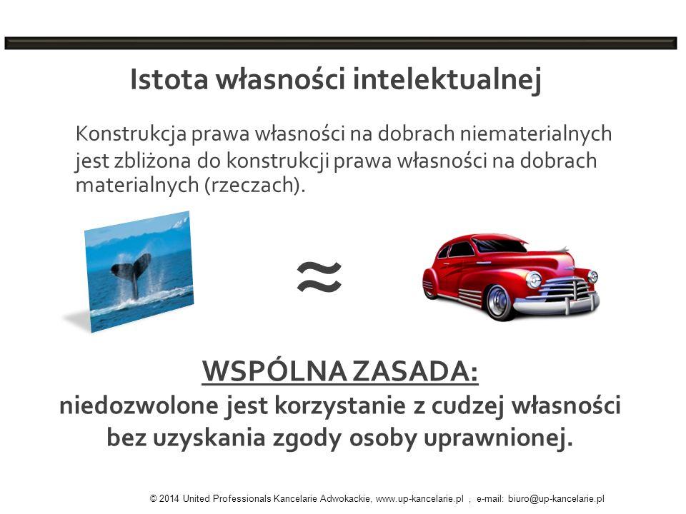 Istota własności intelektualnej © 2014 United Professionals Kancelarie Adwokackie, www.up-kancelarie.pl, e-mail: biuro@up-kancelarie.pl Konstrukcja pr