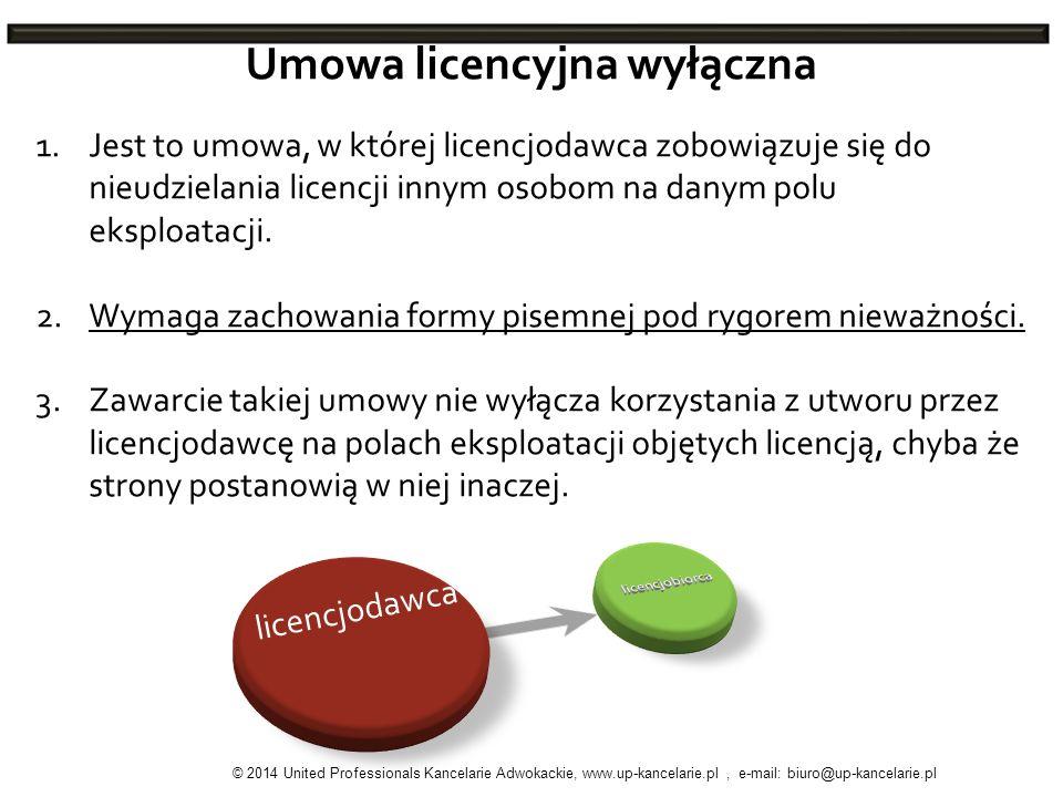 Umowa licencyjna wyłączna 1.Jest to umowa, w której licencjodawca zobowiązuje się do nieudzielania licencji innym osobom na danym polu eksploatacji. 2
