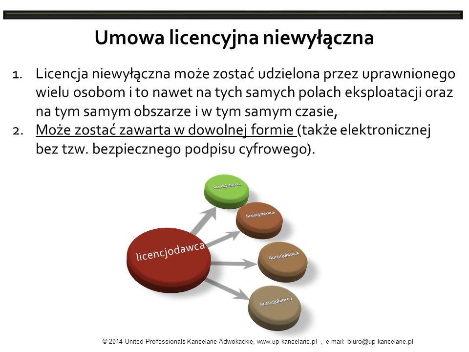 Umowa licencyjna niewyłączna 1.Licencja niewyłączna może zostać udzielona przez uprawnionego wielu osobom i to nawet na tych samych polach eksploatacj