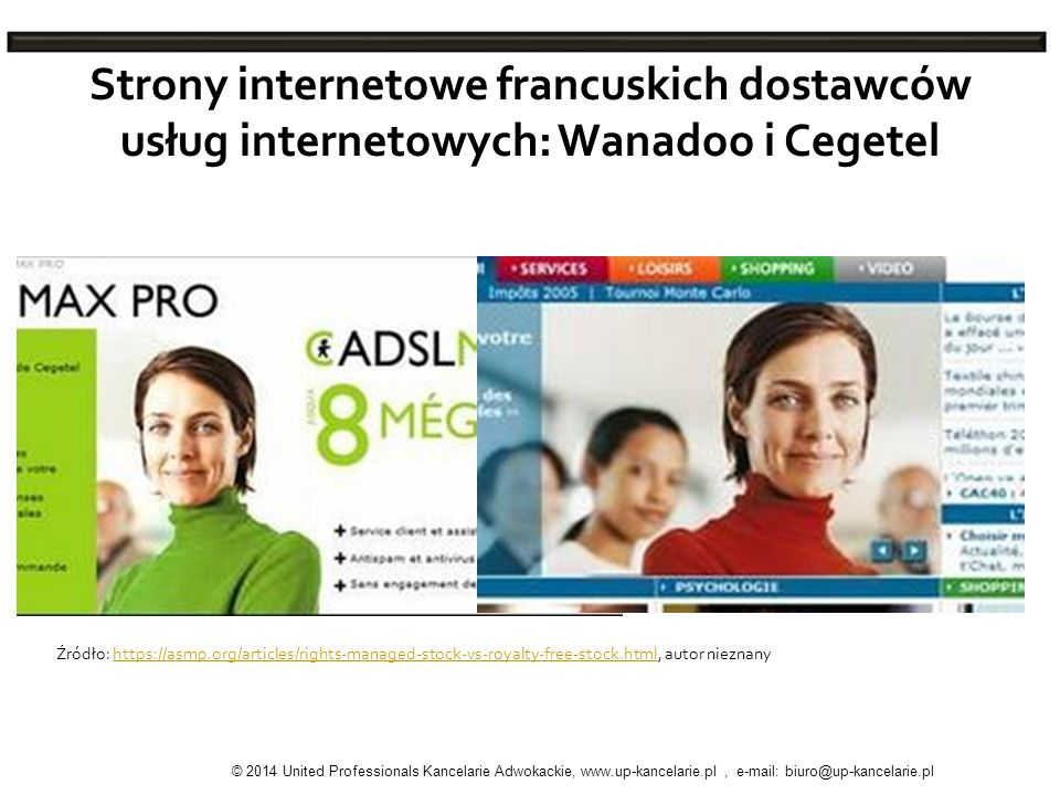 Strony internetowe francuskich dostawców usług internetowych: Wanadoo i Cegetel Źródło: https://asmp.org/articles/rights-managed-stock-vs-royalty-free