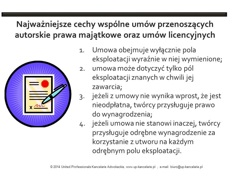 1.Umowa obejmuje wyłącznie pola eksploatacji wyraźnie w niej wymienione; 2.umowa może dotyczyć tylko pól eksploatacji znanych w chwili jej zawarcia; 3