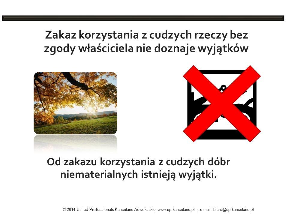 Zakaz korzystania z cudzych rzeczy bez zgody właściciela nie doznaje wyjątków Od zakazu korzystania z cudzych dóbr niematerialnych istnieją wyjątki. ©