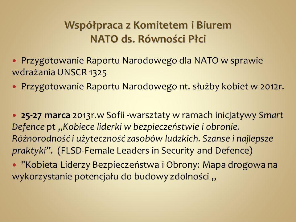 Współpraca z Komitetem i Biurem NATO ds. Równości Płci Przygotowanie Raportu Narodowego dla NATO w sprawie wdrażania UNSCR 1325 Przygotowanie Raportu