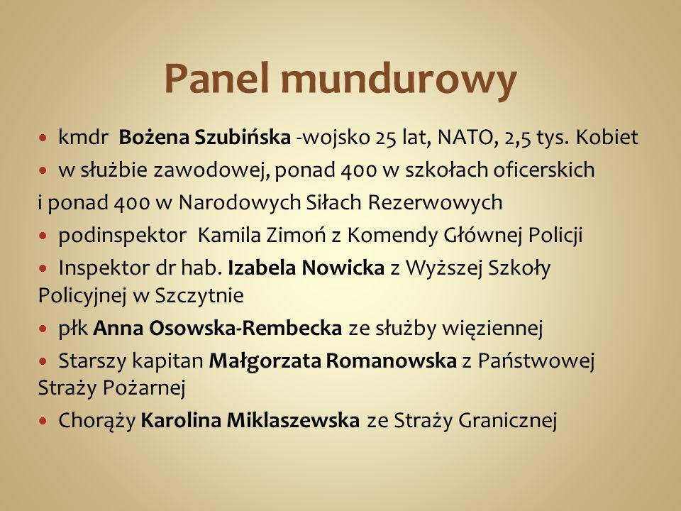 Panel mundurowy kmdr Bożena Szubińska -wojsko 25 lat, NATO, 2,5 tys. Kobiet w służbie zawodowej, ponad 400 w szkołach oficerskich i ponad 400 w Narodo