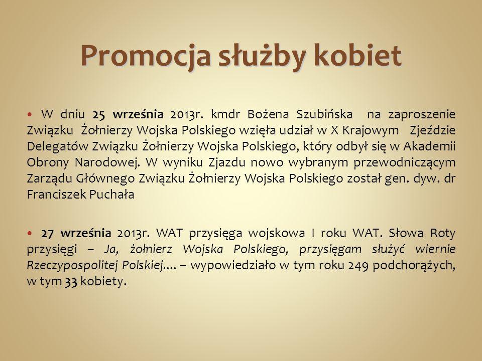 Promocja służby kobiet W dniu 25 września 2013r. kmdr Bożena Szubińska na zaproszenie Związku Żołnierzy Wojska Polskiego wzięła udział w X Krajowym Zj
