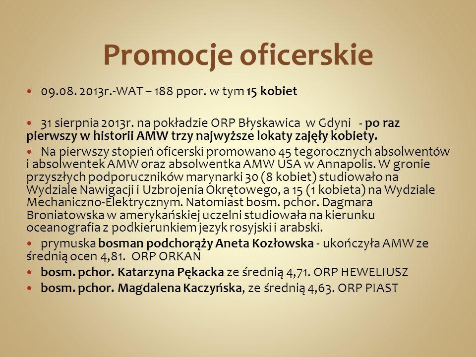Promocje oficerskie 09.08. 2013r.-WAT – 188 ppor. w tym 15 kobiet 31 sierpnia 2013r. na pokładzie ORP Błyskawica w Gdyni - po raz pierwszy w historii