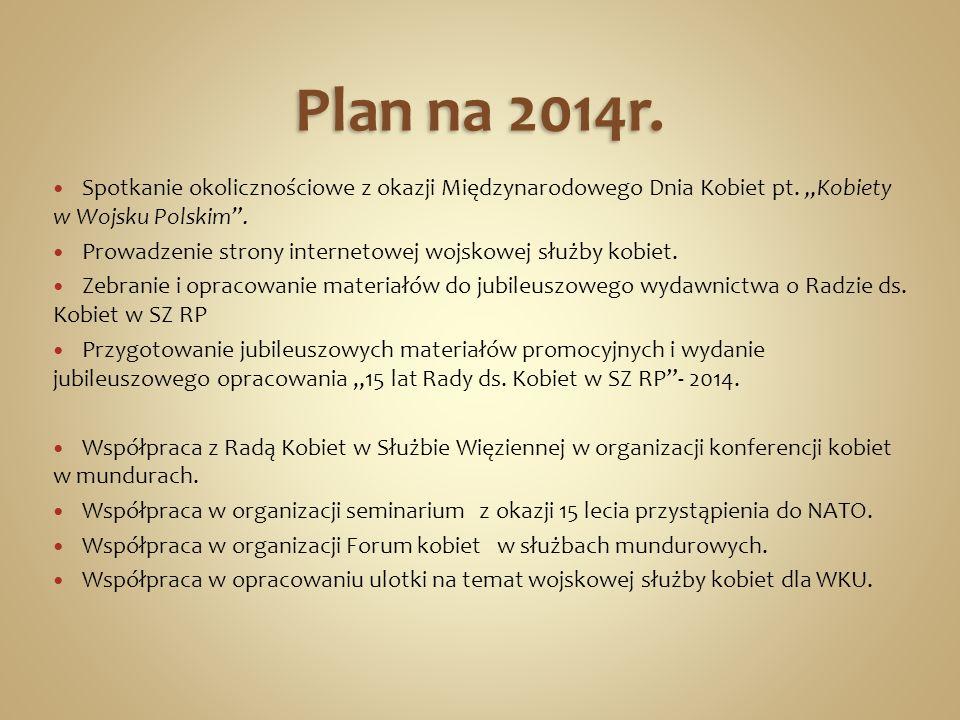 Plan na 2014r. Spotkanie okolicznościowe z okazji Międzynarodowego Dnia Kobiet pt. Kobiety w Wojsku Polskim. Prowadzenie strony internetowej wojskowej