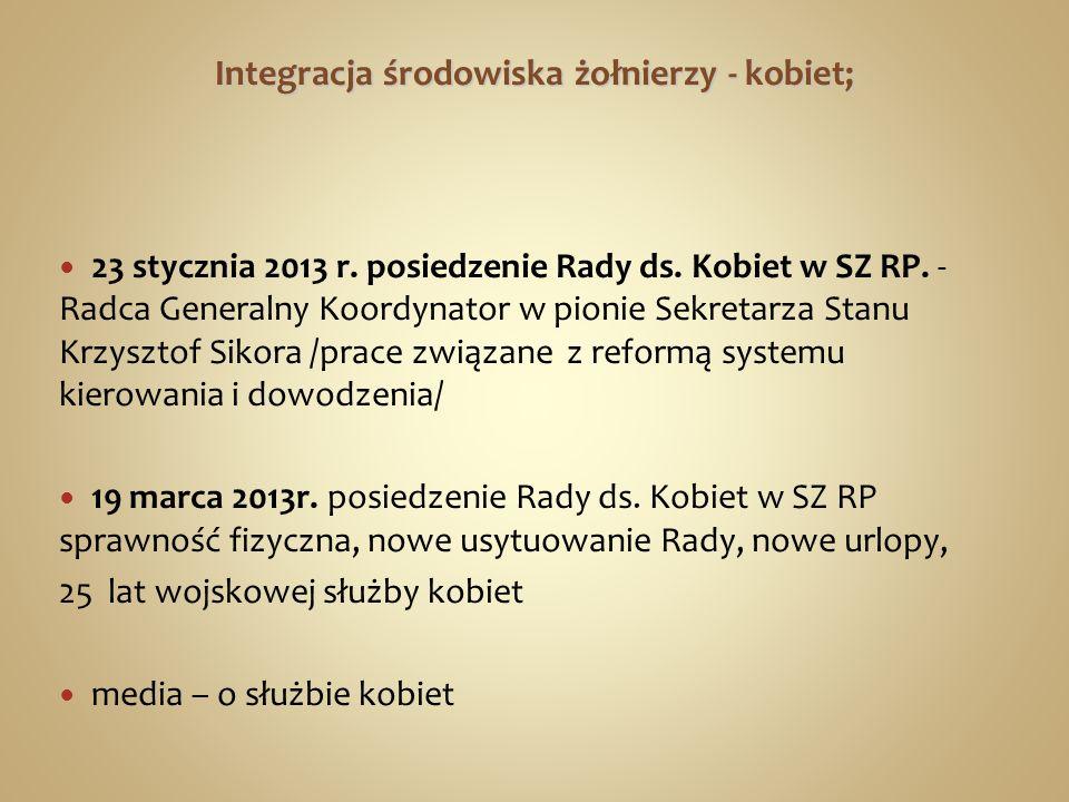Integracja środowiska żołnierzy - kobiet; 23 stycznia 2013 r. posiedzenie Rady ds. Kobiet w SZ RP. - Radca Generalny Koordynator w pionie Sekretarza S