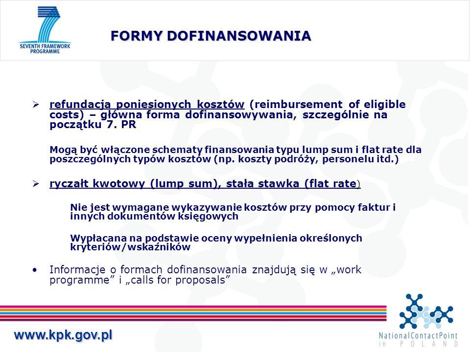 www.kpk.gov.pl SPOSOBY ROZLICZANIA KOSZTÓW W PROJEKTACH DLA WSZYSTKICH UCZESTNIKÓW 1.Uczestnik wykazuje wszystkie koszty bezpośrednie i pośrednie związane z wykonywaniem zadań projektu (wymagany system księgowości analitycznej precyzyjnie wykazujący koszty pośrednie przypadające na projekt) stworzenie możliwości uproszczonego sposobu wyliczania kosztów pośrednich dla jednostek, które nie posiadają księgowości analitycznej 2.Uczestnik wykazuje koszty pośrednie za pomocą stawki procentowej – 20% kosztów bezpośrednich z wyłączeniem subcontractingu DLA INSTYTUCJI PUBLICZNYCH NON-PROFIT, SZKÓŁ ŚREDNICH I WYŻSZYCH, INSTYTUCJI BADAWCZYCH I MŚP, (które nie są w stanie wyliczyć rzeczywistych kosztów pośrednich przypadających na projekt), GDY UCZESTNICZĄ W PROJEKTACH ZAWIERAJĄCYCH KOMPONENT RTD Ryczałt na koszty pośrednie - 60% dla calls for proposals zamkniętych do 31 grudnia 2009 i nie mniejszy niż 40% dla zamkniętych po 31 grudnia 2009