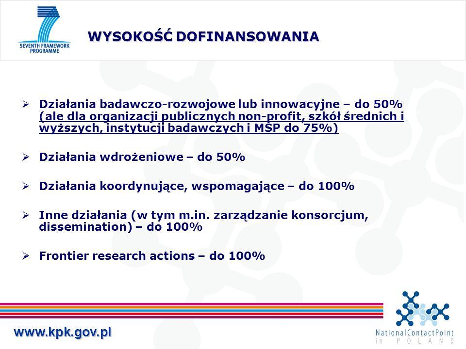 www.kpk.gov.pl WYSOKOŚĆ DOFINANSOWANIA Działania badawczo-rozwojowe lub innowacyjne – do 50% (ale dla organizacji publicznych non-profit, szkół średnich i wyższych, instytucji badawczych i MŚP do 75%) Działania wdrożeniowe – do 50% Działania koordynujące, wspomagające – do 100% Inne działania (w tym m.in.