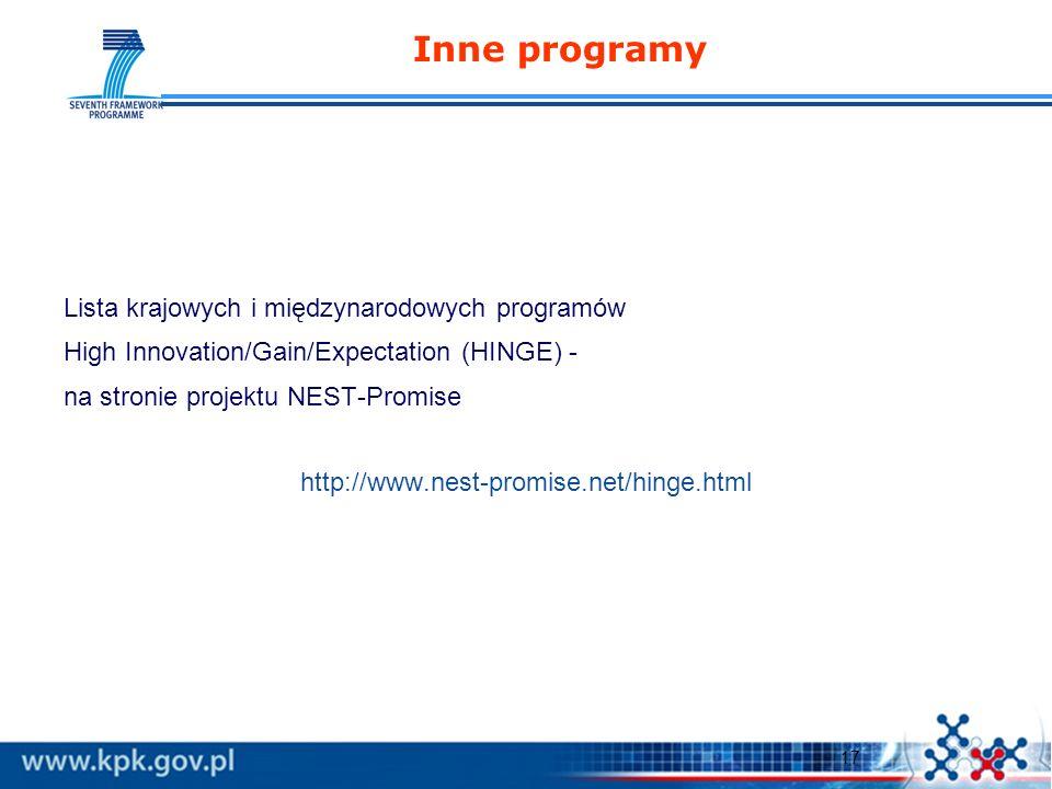 17 Inne programy Lista krajowych i międzynarodowych programów High Innovation/Gain/Expectation (HINGE) - na stronie projektu NEST-Promise http://www.nest-promise.net/hinge.html