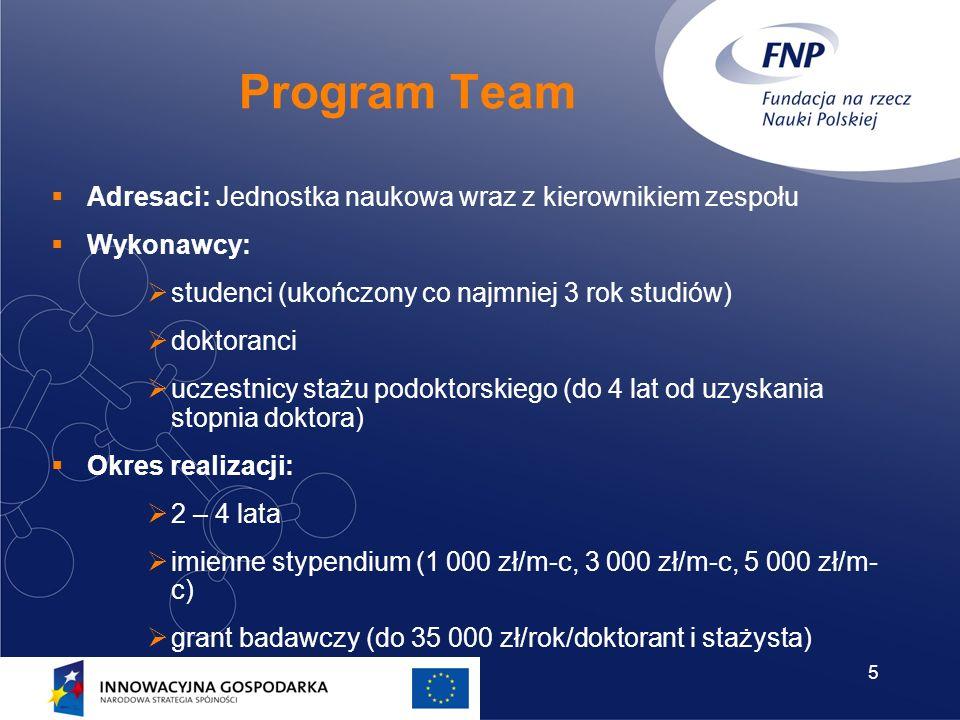 5 Program Team Adresaci: Jednostka naukowa wraz z kierownikiem zespołu Wykonawcy: studenci (ukończony co najmniej 3 rok studiów) doktoranci uczestnicy