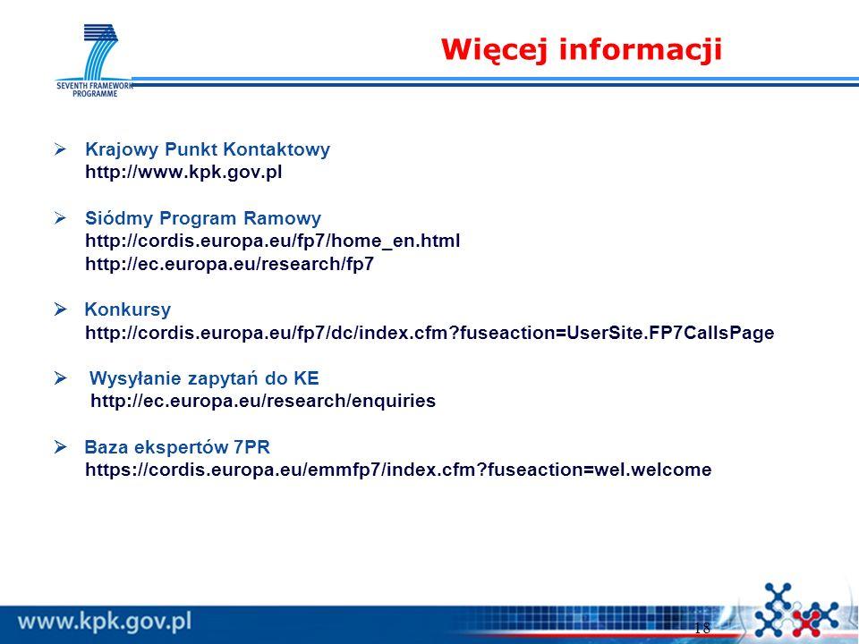 18 Krajowy Punkt Kontaktowy http://www.kpk.gov.pl Siódmy Program Ramowy http://cordis.europa.eu/fp7/home_en.html http://ec.europa.eu/research/fp7 Konkursy http://cordis.europa.eu/fp7/dc/index.cfm fuseaction=UserSite.FP7CallsPage Wysyłanie zapytań do KE http://ec.europa.eu/research/enquiries Baza ekspertów 7PR https://cordis.europa.eu/emmfp7/index.cfm fuseaction=wel.welcome Więcej informacji