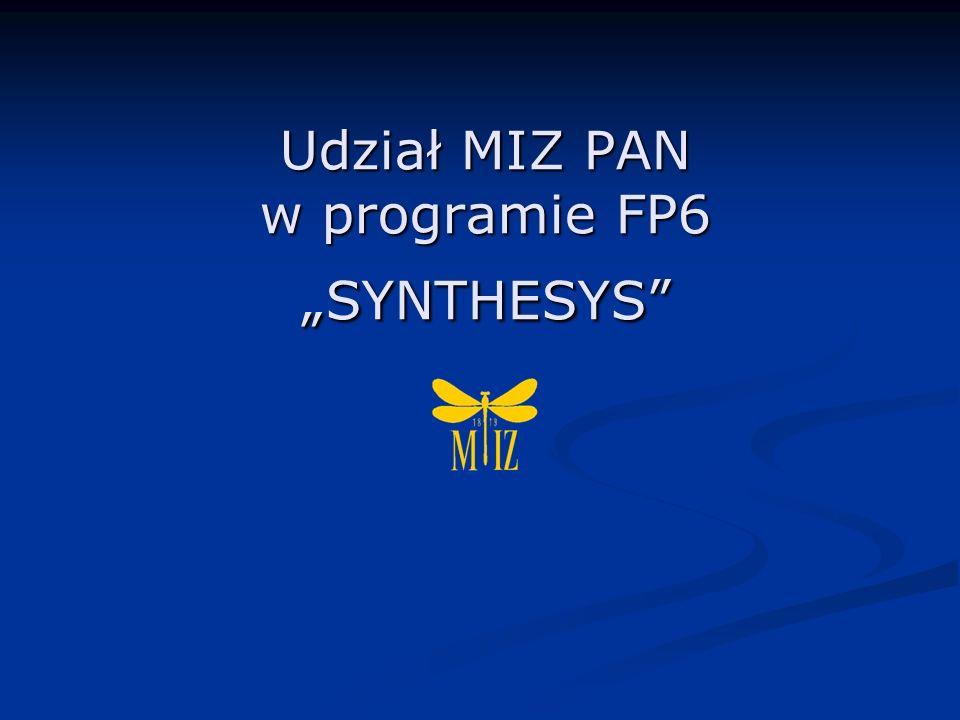 Udział MIZ PAN w programie FP6 SYNTHESYS