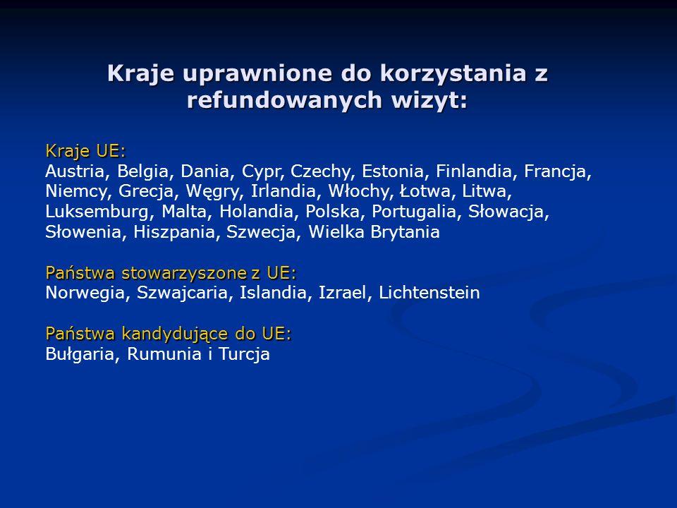 Kraje uprawnione do korzystania z refundowanych wizyt: Kraje UE: Austria, Belgia, Dania, Cypr, Czechy, Estonia, Finlandia, Francja, Niemcy, Grecja, Węgry, Irlandia, Włochy, Łotwa, Litwa, Luksemburg, Malta, Holandia, Polska, Portugalia, Słowacja, Słowenia, Hiszpania, Szwecja, Wielka Brytania Państwa stowarzyszone z UE: Norwegia, Szwajcaria, Islandia, Izrael, Lichtenstein Państwa kandydujące do UE: Bułgaria, Rumunia i Turcja