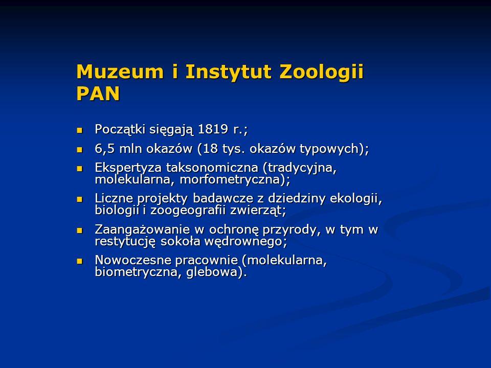 Muzeum i Instytut Zoologii PAN Początki sięgają 1819 r.; Początki sięgają 1819 r.; 6,5 mln okazów (18 tys.