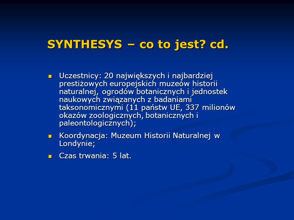 SYNTHESYS – co to jest. cd.