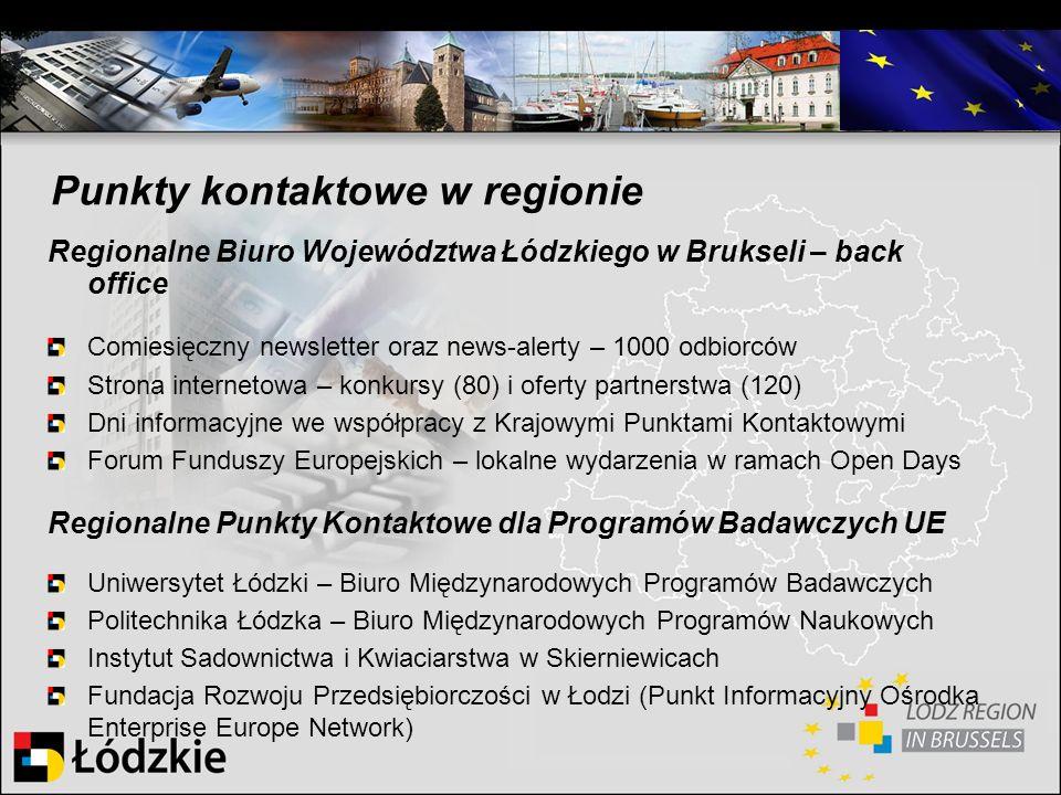 Regionalne Biuro Województwa Łódzkiego w Brukseli – back office Comiesięczny newsletter oraz news-alerty – 1000 odbiorców Strona internetowa – konkurs