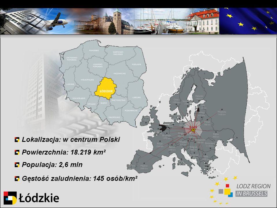 Lokalizacja: w centrum Polski Powierzchnia: 18.219 km² Populacja: 2,6 mln Gęstość zaludnienia: 145 osób/km²