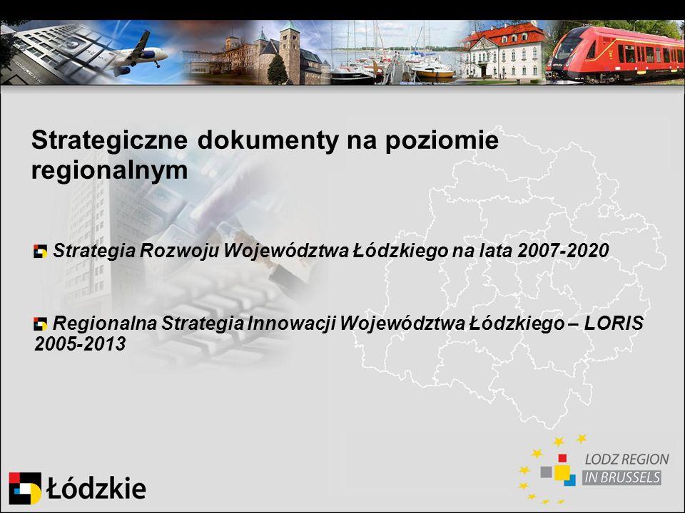 Strategiczne dokumenty na poziomie regionalnym Strategia Rozwoju Województwa Łódzkiego na lata 2007-2020 Regionalna Strategia Innowacji Województwa Łó
