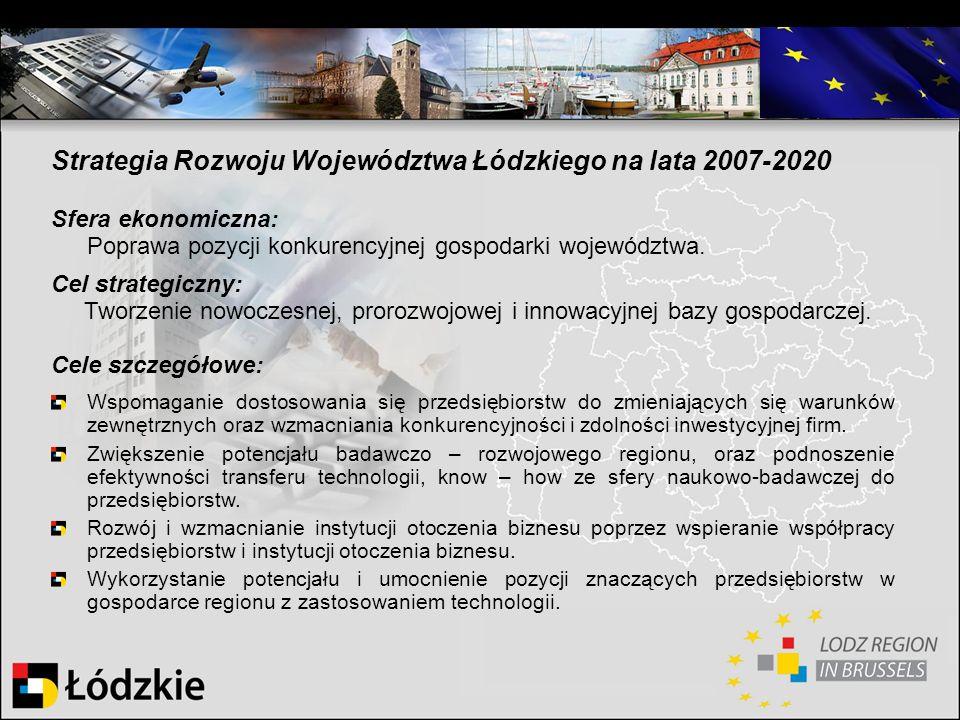 Strategia Rozwoju Województwa Łódzkiego na lata 2007-2020 Sfera ekonomiczna: Poprawa pozycji konkurencyjnej gospodarki województwa. Cel strategiczny: