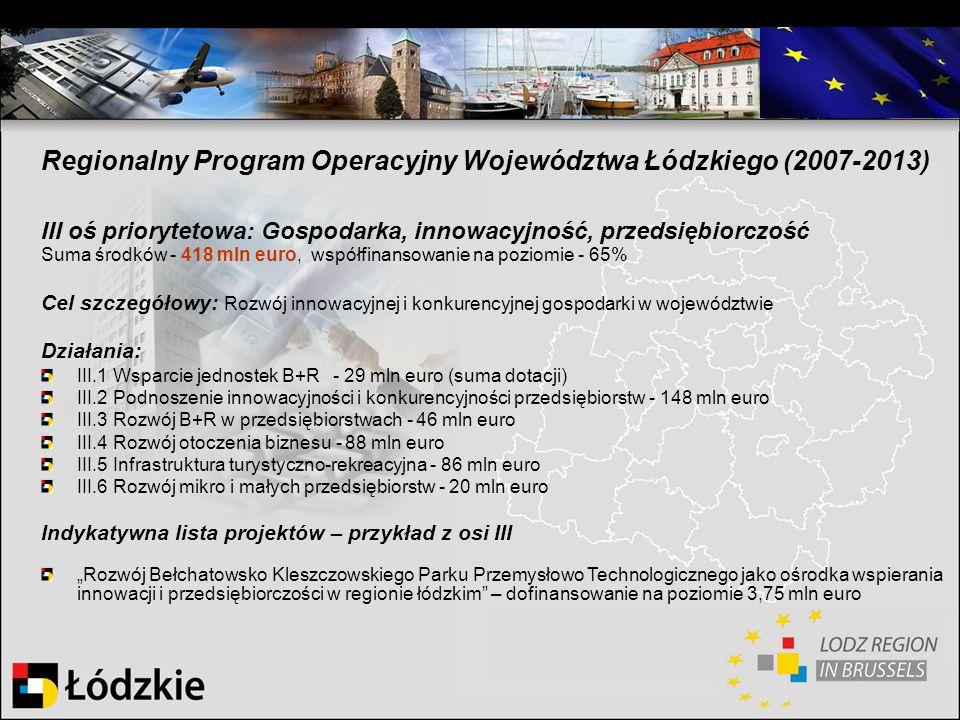 Regionalny Program Operacyjny Województwa Łódzkiego (2007-2013) III oś priorytetowa: Gospodarka, innowacyjność, przedsiębiorczość Suma środków - 418 m