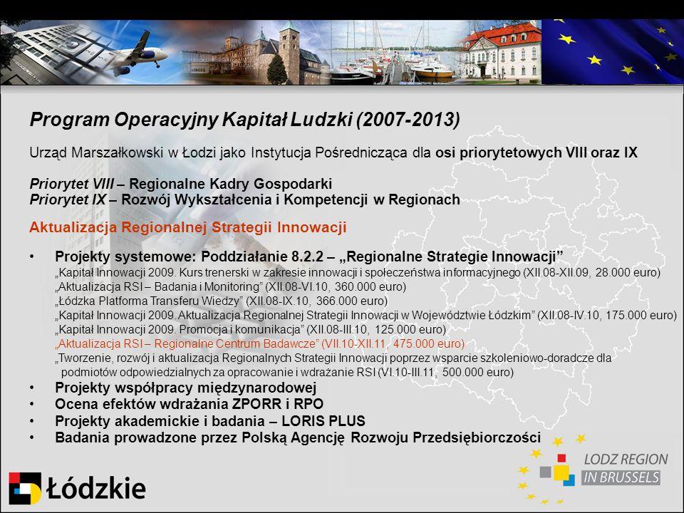 Program Operacyjny Kapitał Ludzki (2007-2013) Urząd Marszałkowski w Łodzi jako Instytucja Pośrednicząca dla osi priorytetowych VIII oraz IX Priorytet