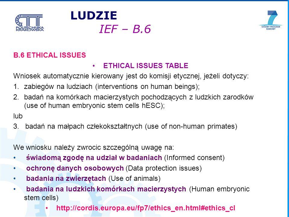 B.6 ETHICAL ISSUES ETHICAL ISSUES TABLE Wniosek automatycznie kierowany jest do komisji etycznej, jeżeli dotyczy: 1.zabiegów na ludziach (interventions on human beings); 2.badań na komórkach macierzystych pochodzących z ludzkich zarodków (use of human embryonic stem cells hESC); lub 3.