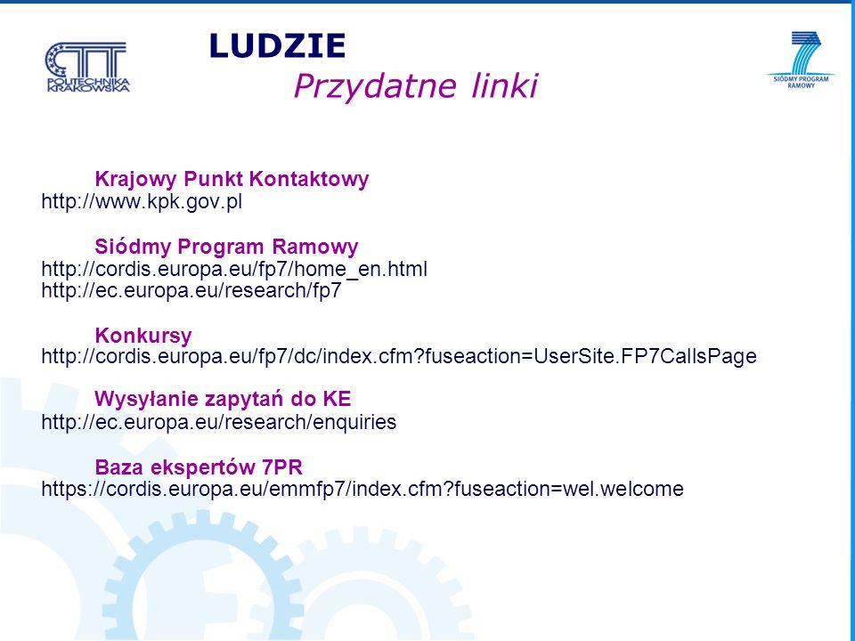 Krajowy Punkt Kontaktowy http://www.kpk.gov.pl Siódmy Program Ramowy http://cordis.europa.eu/fp7/home_en.html http://ec.europa.eu/research/fp7 Konkursy http://cordis.europa.eu/fp7/dc/index.cfm fuseaction=UserSite.FP7CallsPage Wysyłanie zapytań do KE http://ec.europa.eu/research/enquiries Baza ekspertów 7PR https://cordis.europa.eu/emmfp7/index.cfm fuseaction=wel.welcome LUDZIE Przydatne linki