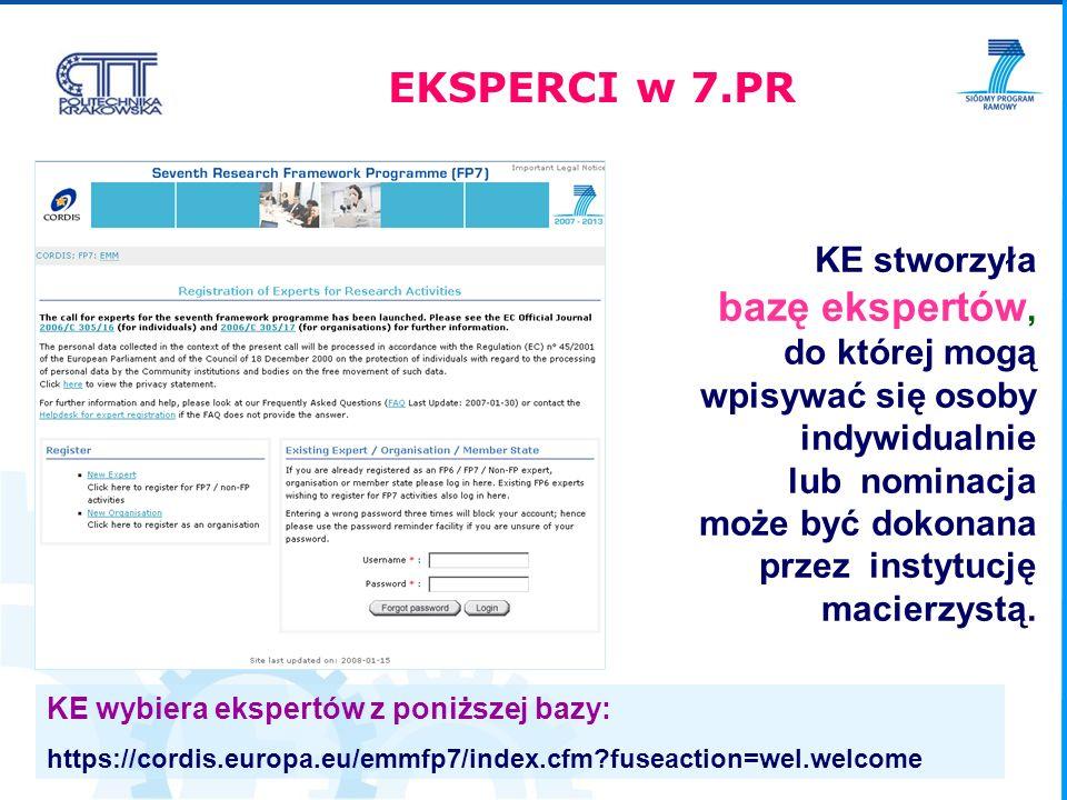 Krajowy Punkt Kontaktowy http://www.kpk.gov.pl Siódmy Program Ramowy http://cordis.europa.eu/fp7/home_en.html http://ec.europa.eu/research/fp7 Konkursy http://cordis.europa.eu/fp7/dc/index.cfm?fuseaction=UserSite.FP7CallsPage Wysyłanie zapytań do KE http://ec.europa.eu/research/enquiries Baza ekspertów 7PR https://cordis.europa.eu/emmfp7/index.cfm?fuseaction=wel.welcome LUDZIE Przydatne linki