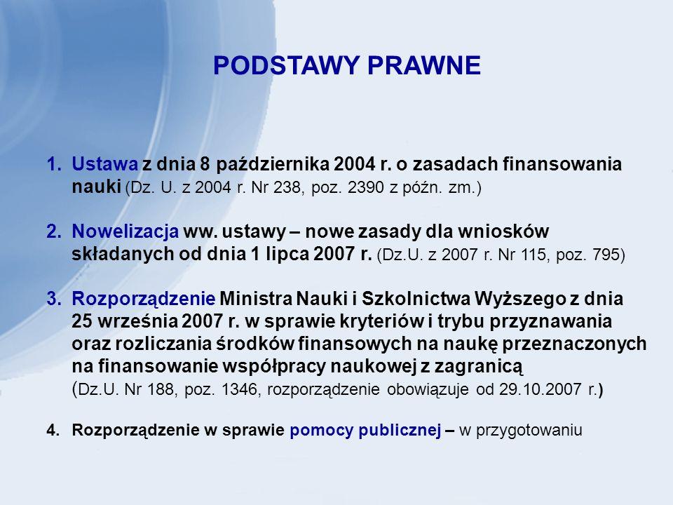 PODSTAWY PRAWNE 1.Ustawa z dnia 8 października 2004 r.