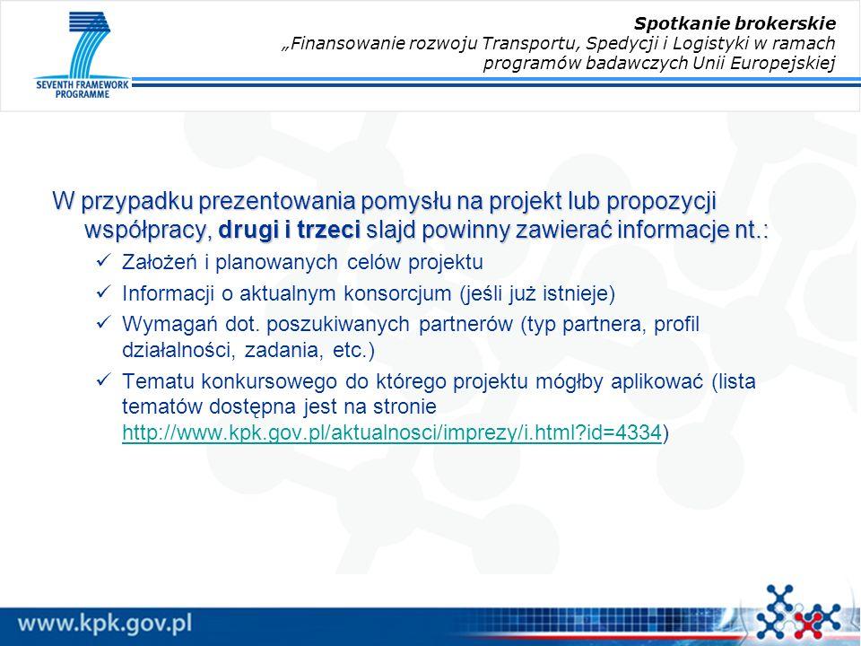 W przypadku prezentowania pomysłu na projekt lub propozycji współpracy, drugi i trzeci slajd powinny zawierać informacje nt.: Założeń i planowanych celów projektu Informacji o aktualnym konsorcjum (jeśli już istnieje) Wymagań dot.