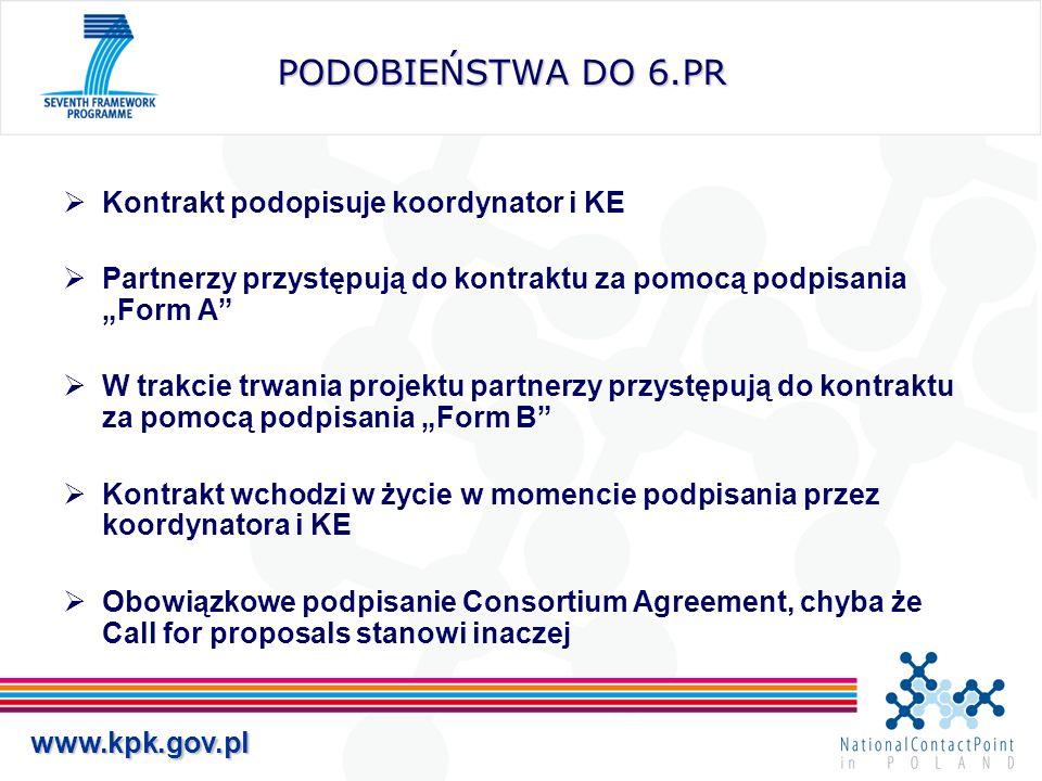 www.kpk.gov.pl PODOBIEŃSTWA DO 6.PR Kontrakt podopisuje koordynator i KE Partnerzy przystępują do kontraktu za pomocą podpisania Form A W trakcie trwania projektu partnerzy przystępują do kontraktu za pomocą podpisania Form B Kontrakt wchodzi w życie w momencie podpisania przez koordynatora i KE Obowiązkowe podpisanie Consortium Agreement, chyba że Call for proposals stanowi inaczej