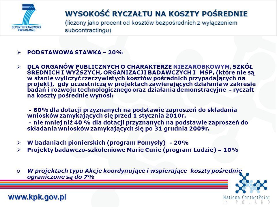 www.kpk.gov.pl WYSOKOŚĆ RYCZAŁTU NA KOSZTY POŚREDNIE ( liczony jako procent od kosztów bezpośrednich z wyłączeniem subcontractingu) PODSTAWOWA STAWKA – 20% DLA ORGANÓW PUBLICZNYCH O CHARAKTERZE NIEZAROBKOWYM, SZKÓŁ ŚREDNICH I WYŻSZYCH, ORGANIZACJI BADAWCZYCH I MŚP, (które nie są w stanie wyliczyć rzeczywistych kosztów pośrednich przypadających na projekt), gdy uczestniczą w projektach zawierających działania w zakresie badań i rozwoju technologicznego oraz działania demonstracyjne - ryczałt na koszty pośrednie wynosi: - 60% dla dotacji przyznanych na podstawie zaproszeń do składania wniosków zamykających się przed 1 stycznia 2010r.