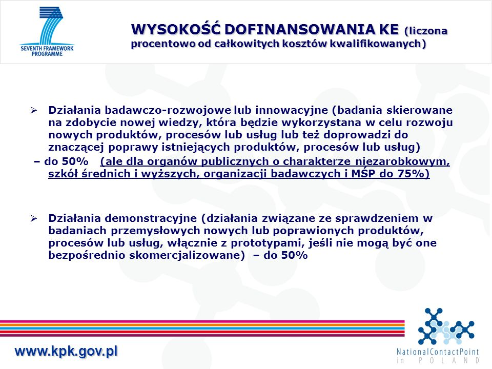 www.kpk.gov.pl WYSOKOŚĆ DOFINANSOWANIA KE (liczona procentowo od całkowitych kosztów kwalifikowanych) Działania badawczo-rozwojowe lub innowacyjne (badania skierowane na zdobycie nowej wiedzy, która będzie wykorzystana w celu rozwoju nowych produktów, procesów lub usług lub też doprowadzi do znaczącej poprawy istniejących produktów, procesów lub usług) – do 50% (ale dla organów publicznych o charakterze niezarobkowym, szkół średnich i wyższych, organizacji badawczych i MŚP do 75%) Działania demonstracyjne (działania związane ze sprawdzeniem w badaniach przemysłowych nowych lub poprawionych produktów, procesów lub usług, włącznie z prototypami, jeśli nie mogą być one bezpośrednio skomercjalizowane) – do 50%