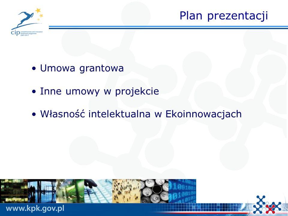 Plan prezentacji Umowa grantowa Inne umowy w projekcie Własność intelektualna w Ekoinnowacjach