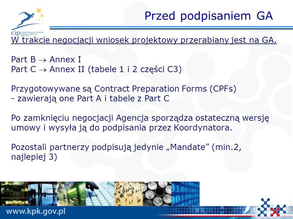 Przed podpisaniem GA W trakcie negocjacji wniosek projektowy przerabiany jest na GA. Part B Annex I Part C Annex II (tabele 1 i 2 części C3) Przygotow