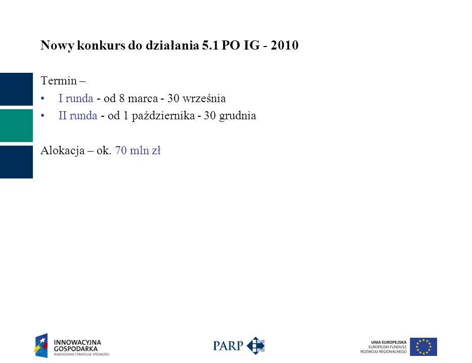 Nowy konkurs do działania 5.1 PO IG - 2010 Termin – I runda - od 8 marca - 30 września II runda - od 1 października - 30 grudnia Alokacja – ok.