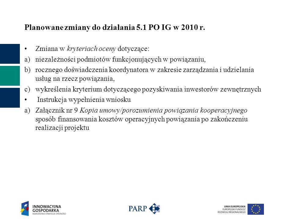 Planowane zmiany do działania 5.1 PO IG w 2010 r.