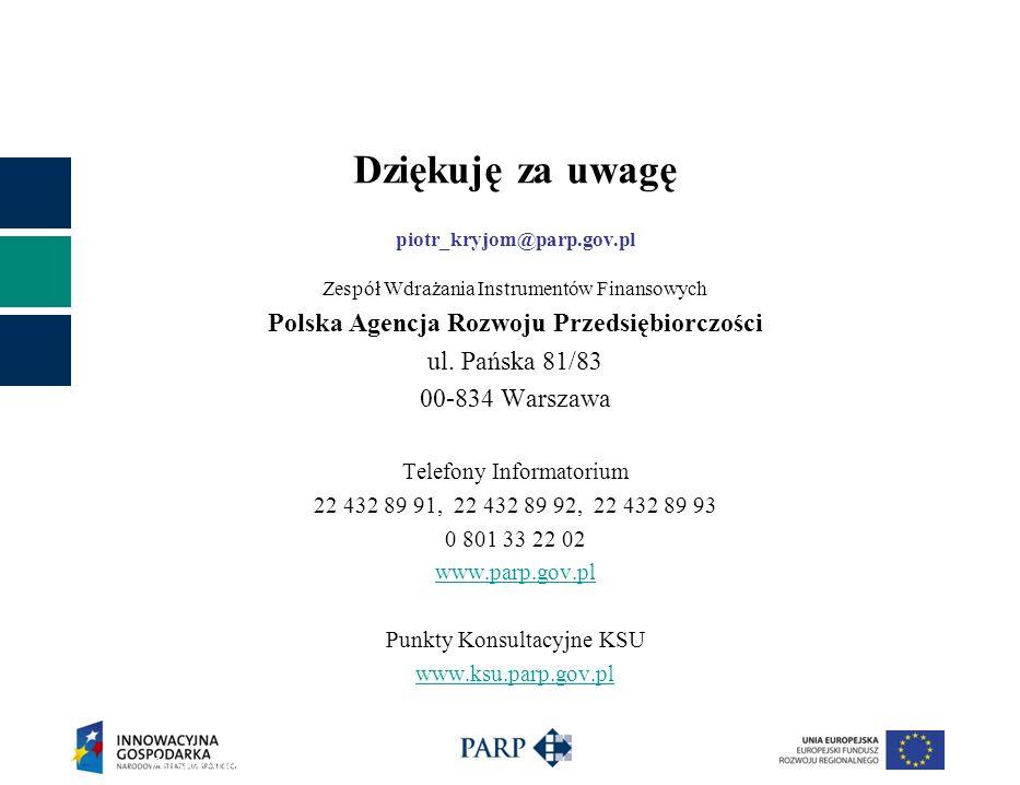 Dziękuję za uwagę piotr_kryjom@parp.gov.pl Zespół Wdrażania Instrumentów Finansowych Polska Agencja Rozwoju Przedsiębiorczości ul.