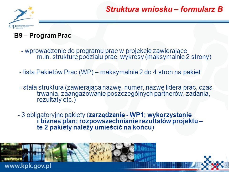 Struktura wniosku – formularz B B9 – Program Prac - wprowadzenie do programu prac w projekcie zawierające m.in. strukturę podziału prac, wykresy (maks