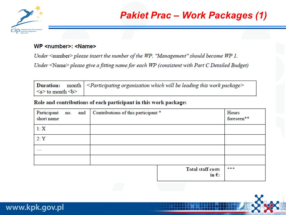 Pakiet Prac – Work Packages (1)